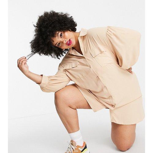 Lola May Plus - Robe chemise à manches ballon - Beige - Lola May Curve - Modalova