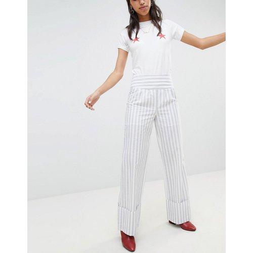 Pantalon large à rayures avec revers - Lost Ink - Modalova