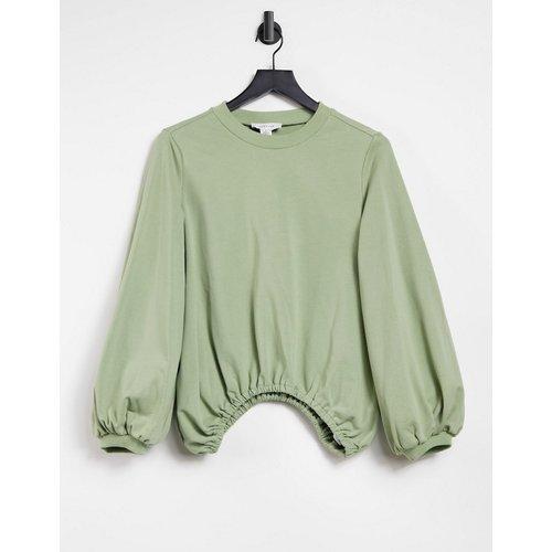 Sweat-shirt oversize à manches ballon - Olive - Lost Ink - Modalova