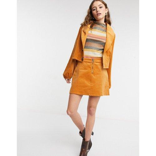 Mini-jupe d'ensemble zippée en velours côtelé - Moutarde - Lottie And Holly - Modalova