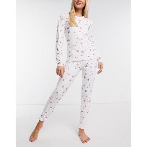 Ensemble de pyjama legging ultra doux à imprimé étoiles pailletées - Crème - Loungeable - Modalova
