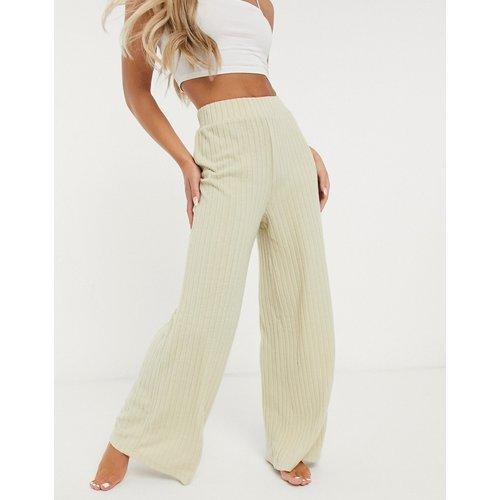 Mix & Match - Pantalon large en maille côtelée douce - Avoine - Loungeable - Modalova
