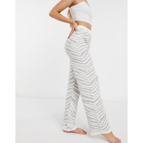Pantalon confort en maille premium à motif zébré - /Crème - Loungeable - Modalova