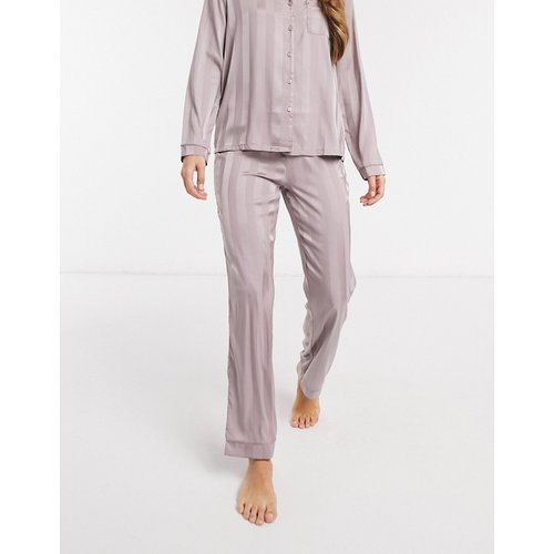 Pantalon en jacquard satiné à rayures - Vison - Loungeable - Modalova