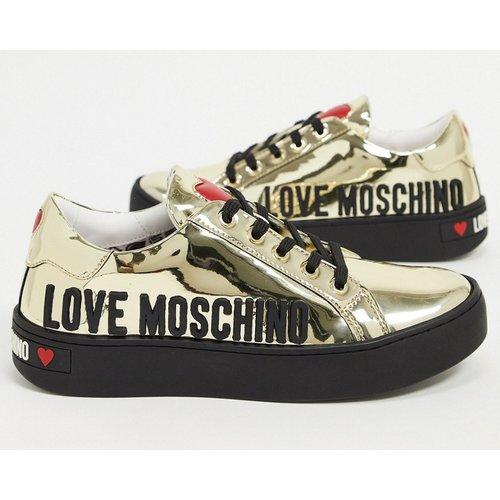 Baskets à logo métallisé - Love Moschino - Modalova