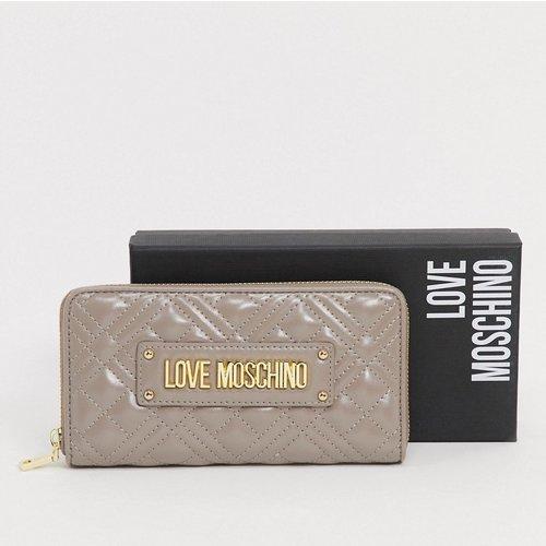 Porte-monnaie matelassé zippé sur le pourtour - Taupe - Love Moschino - Modalova