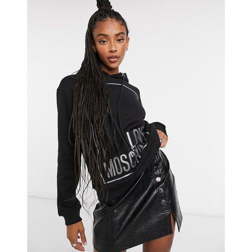 Sweat-shirt à capuche avec logo encadré - Love Moschino - Modalova