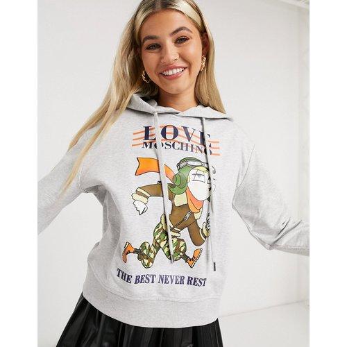 - Sweat-shirt à capuche et imprimé poupée - Love Moschino - Modalova