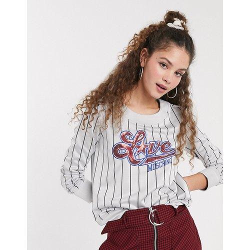 Sweat-shirt à logo avec rayures style baseball - Love Moschino - Modalova
