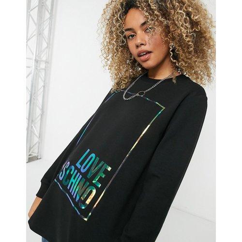 Sweat-shirt à logo encadré irisé - Love Moschino - Modalova