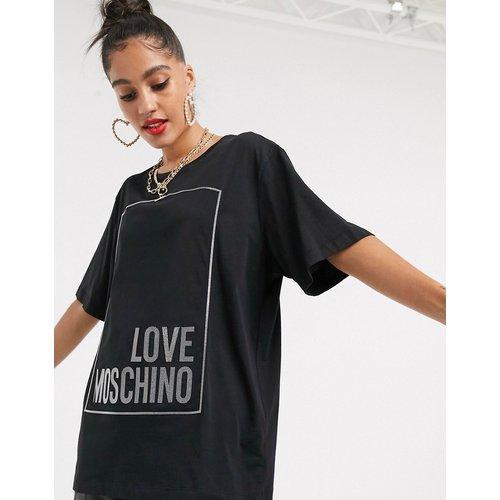 T-shirt avec logo encadré caoutchouté - Love Moschino - Modalova