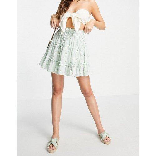 Mini-jupe étagée d'ensemble à taille froncée - Menthe fleuri - Love Triangle - Modalova