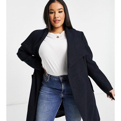 Manteau en laine avec ceinture - Bleu - Lovedrobe - Modalova