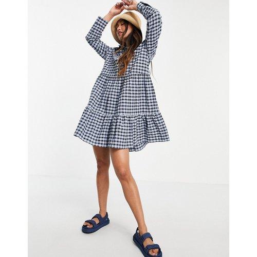 Robe chemise à carreaux vichy - Bleu et noir - Mango - Modalova