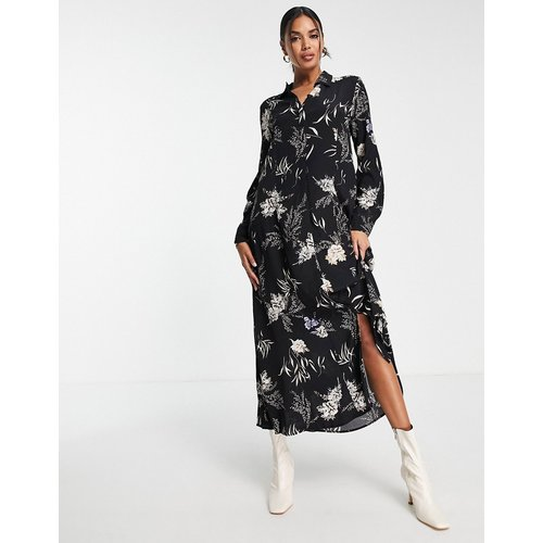Robe chemise mi-longue à fleurs - Mango - Modalova