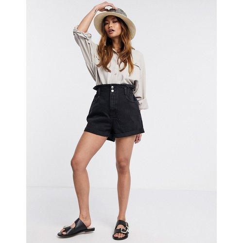 Short en jean à taille haute froncée - délavé - Mango - Modalova