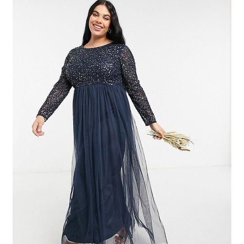 Robe longue en tulle à manches longues pour demoiselle d'honneur avec sequins délicats ton sur ton - Bleu - Maya Plus - Modalova