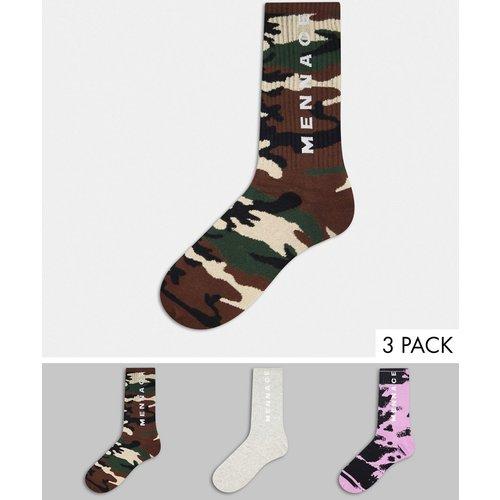 Lot de 3paires de chaussettes motif tie-dye et camouflage - Gris - Mennace - Modalova