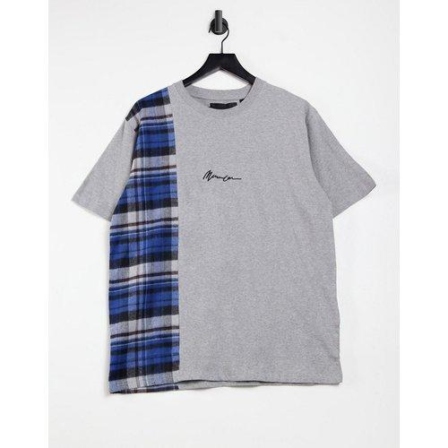 T-shirt à manches courtes avec empiècement vertical à carreaux - Mennace - Modalova