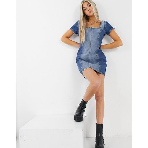 Robe courte vintage style corset en denim mélangé - Milk It - Modalova