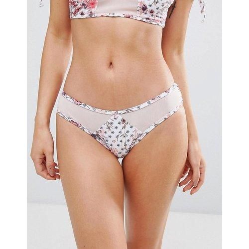 Bas de bikini échancré à imprimé pétales et empiècement en maille - Minkpink - Modalova