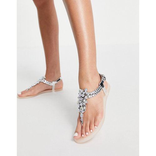 Dory - Sandales plates en plastique souple avec entredoigt orné de strass - Blush - Miss KG - Modalova