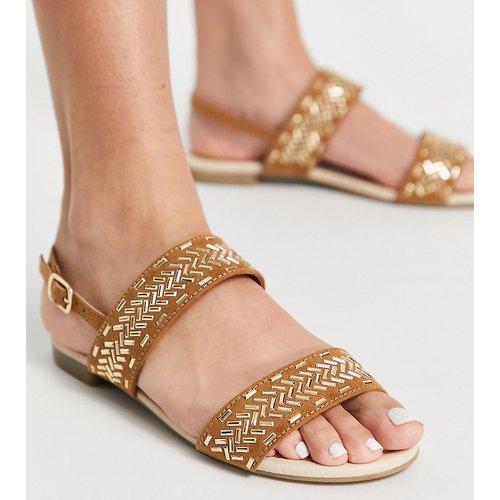 Pointure large - Detroit - Sandales plates à détails dorés - Fauve - Miss KG - Modalova