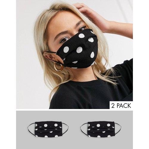 Lot de 2 masques en tissu à pois - et blanc - Miss Selfridge - Modalova