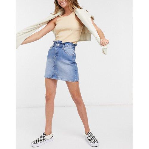 Mini-jupe en jean à taille haute - délavé moyen - Miss Selfridge - Modalova