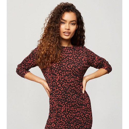 T-shirt d'ensemble à imprimé léopard - Rouge - Miss Selfridge Petite - Modalova