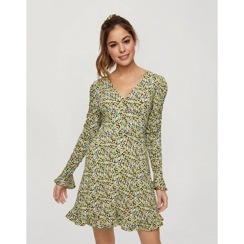Robe courte ajustée et évasée à imprimé floral - Miss Selfridge - Modalova