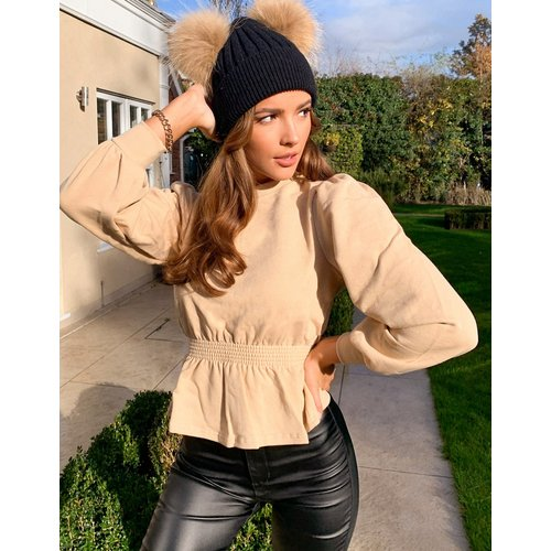 Sweat-shirt à taille froncée - Camel - Miss Selfridge - Modalova