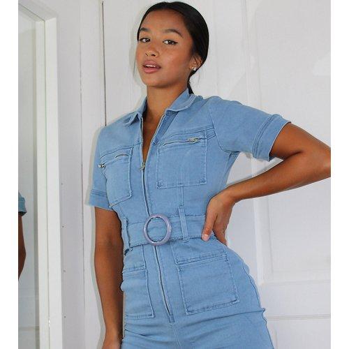 Combishort en jean à ceinture - Délavage clair - Missguided Petite - Modalova
