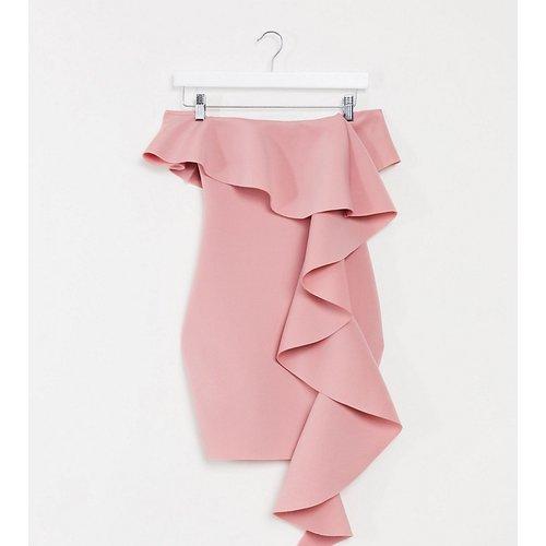 Robe Bardot courte en néoprène à volants - Blush - Missguided Petite - Modalova