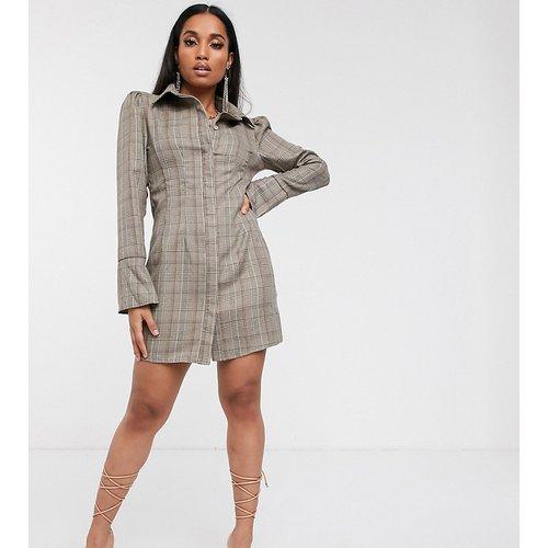 Robe chemise à manches évasées - Carreaux - Missguided Petite - Modalova