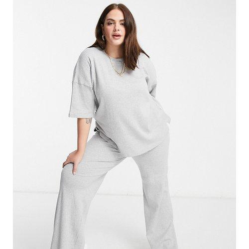Ensemble t-shirt et pantalon large - chiné - Missguided Plus - Modalova