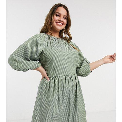 Robe babydoll à manches bouffantes - Carreaux - Missguided Plus - Modalova
