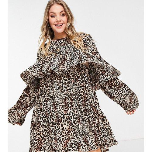 Robe babydoll plissée à imprimé léopard - Missguided Plus - Modalova