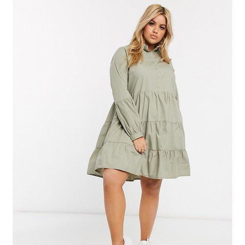 Robe chemise mi-longue à volants - sauge - Missguided Plus - Modalova