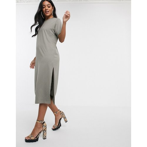 Robe t-shirt mi-longue - Kaki - Missguided - Modalova