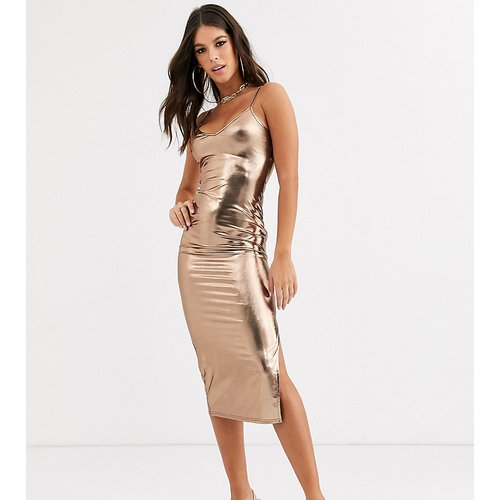 Robe nuisette style caraco longueur mollet - métallisé - Missguided Tall - Modalova