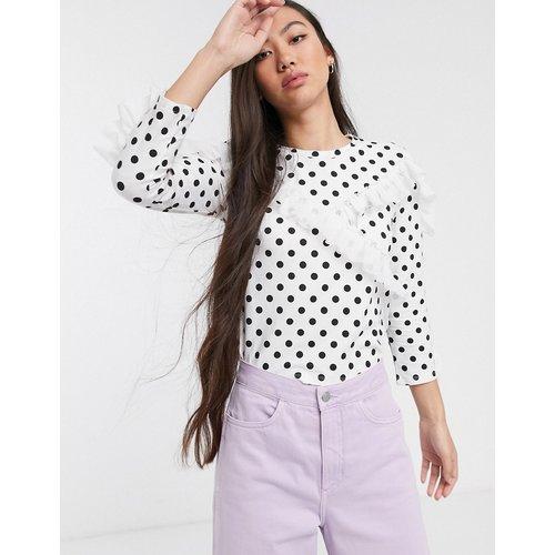 Sweat-shirt à pois avec empiècement à volants - Monki - Modalova