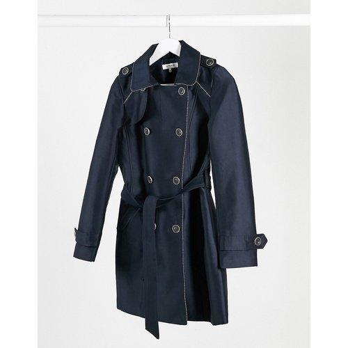 Manteau croisé zippé avec ceinture à nouer - Bleu marine - Morgan - Modalova