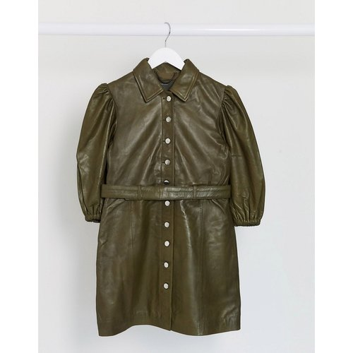 - Robe courte en cuir avec ceinture - sauge - Muubaa - Modalova