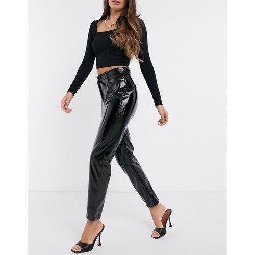 Pantalon droit taille haute en vinyle - NA-KD - Modalova