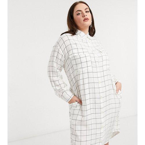 Robe chemise mi-longue boutonnée en flanelle à carreaux - Crème - Native Youth Plus - Modalova