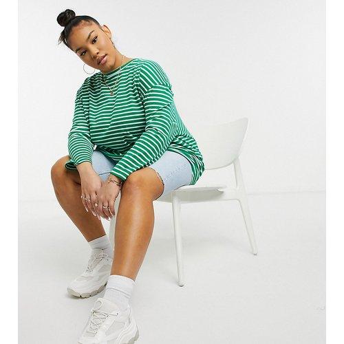 T-shirt ultra oversize à manches longues et rayures - Native Youth Plus - Modalova