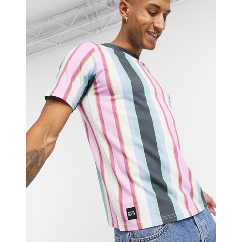 T-shirt à rayures verticales - Bleu et rose - Native Youth - Modalova