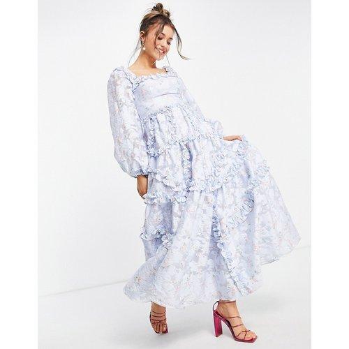 Summer - Robe longue style milkmaid à volants et imprimé floral - Bleu - Needle & Thread - Modalova