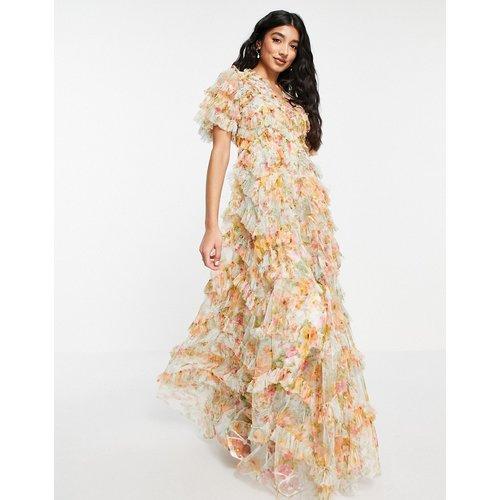 Sunset Garden - Robe longue à volants - Multicolore fleuri - Needle & Thread - Modalova